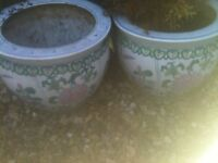 2 X CHINESE THEMED GARDEN POTS FOR SALE