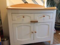 Fabulous, solid, white and wood changing table/large cupboard and drawers