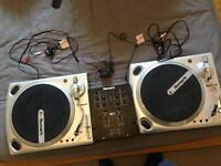 2 x numark ttusb turntables with numark m101 mixer