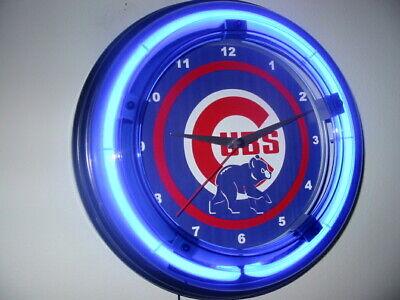 Chicago Cubs Baseball Bar Man Cave Blue Neon Wall Clock Sign