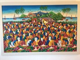 """Original Haitian Oil Painting, 59""""by 39"""",auction valuation £250 ,£350,I want £250 or near offer"""