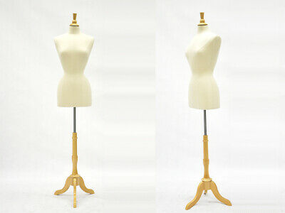 Adult Female Off White Linen Dress Form Mannequin Torso Size 2-4 With Base