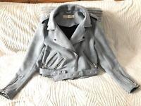 Blue faux suede biker jacket from Zara