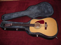 Fender 12 string acoustic guitar Made in Korea 1990s with hard or semi rigid case