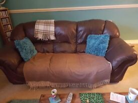 'Free' 3 SEATER BROWN LEATHER SOFA AND LARGE CHAIR