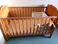 Tutti Bambini cot bed with drop side and mattress with cot bumper and fitted sheets