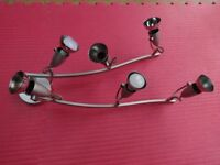 Grey/ chrome Ceiling Light, 6 Way two 24 inch Rotatable Arms with adjustable spotlights