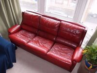 Red leather sofa and armchairs need a new home