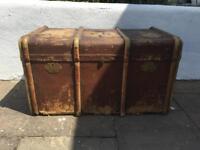 Antique vintage steamer trunk chest storage box