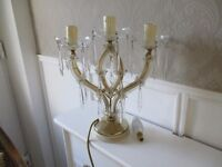 vintage glass french style chandelier table lamp with droplets