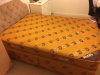 Double divan bed with headboard and matching base.