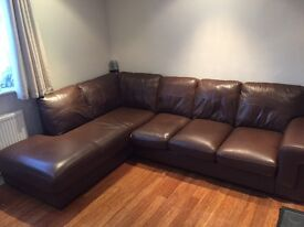 Leather L Shaped Sofa - Chestnut Chocolate Brown, Good Condition (Harveys) - £150