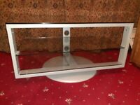 Ikea TV stand (glass & metal) with shelves & rotates in VGC