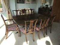 Waring & Gillow Mahogany Dining Table & Chairs - Seats 8