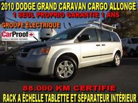 2010 Dodge Grand Caravan CARGO ALLONGÉ 88.000 KM RACK A ÉCHELLE
