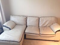 3 Seater Corner Sofa and 1 Single Seater Cream leather sofa in good condition