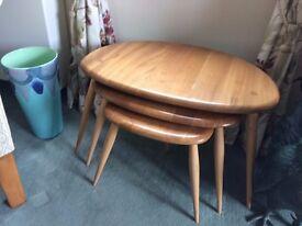 Ercol set of three pebble tables