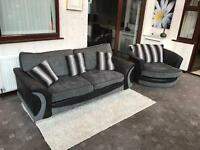 Black + Grey 2 Seater Sofa + Swivel Chair Chrome Feet