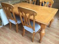 Dining room table with extension and 4 chairs