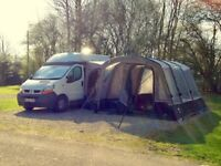 Renault trafic camper van with new Vango Galli 2 bedroom attachable and stand alone tent