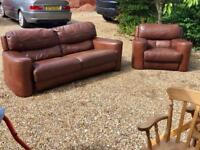 Brown' real leather sofa