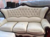 Real Leather Sofas USED 3 Seater & shezlong