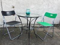 Garden / bistro table and two chairs