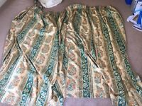 Pair of lined curtains with tie backs fit up to 16ft wide window