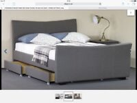 Grey Fabric king size bed and mattress