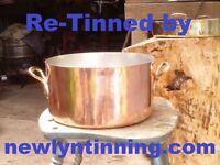 Newlyn tinning 32cm 5.5kg Copper stockpot saucepan stock pot kitchen utensil pan