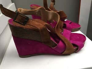 Ladies Brown/Cerise Real Suede Leather Sandals Size 4
