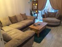 DFS corner sofa and swivel cuddle chair and footstool