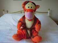 Large Soft Toy - Tigger in Dressing Gown with Night Cap from Disney's Winnie the Pooh