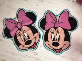 X2 Minnie Mouse bedroom floor mats