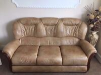 Leather Sofa - 3+2+1 Seater, foot stool