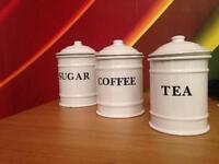Metal tea,coffee, sugar jars