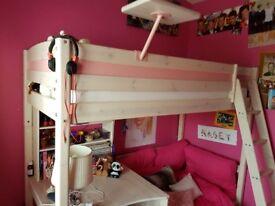 Girls Stompa Bed, mattress and matching eyelet curtains