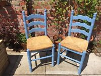 **GREEK INSPIRED BLUE CHAIRS- SHABBY CHIC- CHALK PAINT- SUMMER - ANNIE SLOAN- BE QUICK 🇬🇷
