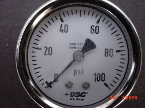 """USG Ametek 0-100 PSI  2 1/2""""    PRESSURE GAUGE STAINLESS STEEL 1/2"""" Stem"""