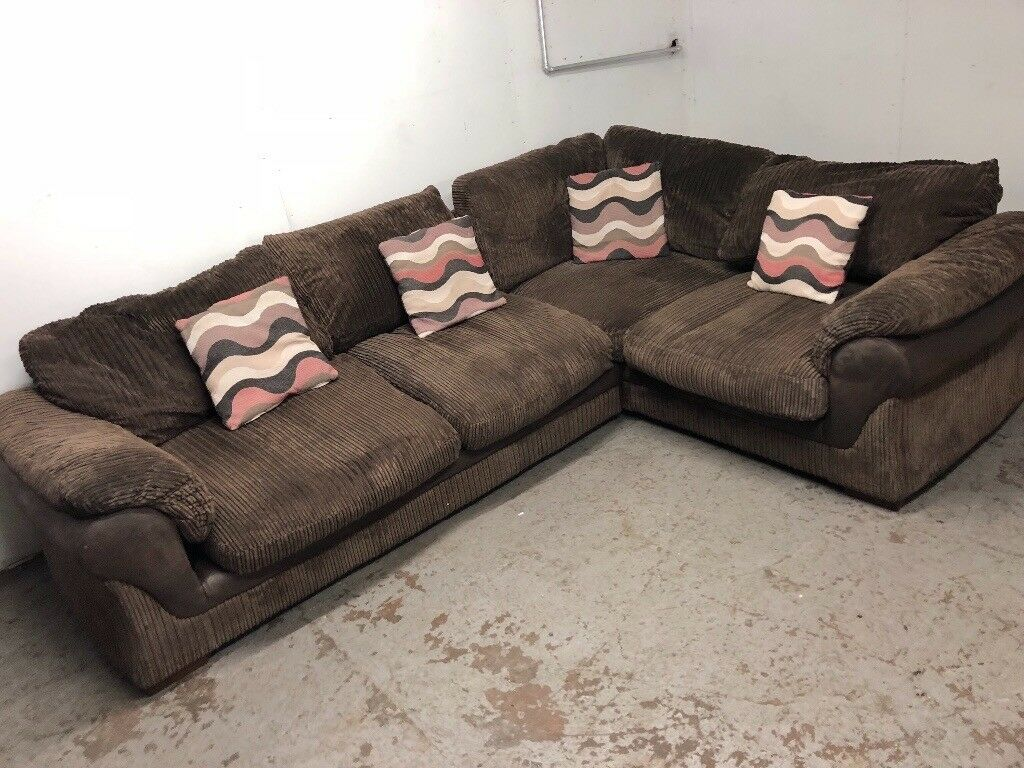 Brown corded corner sofa