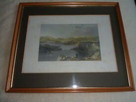 Framed Old Engraving of the Sound of Kerrera, Oban.