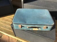Vintage suitcase-bright blue.