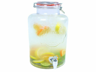 7.6L DRINK DISPENSER WATER COCKTAIL TAP JUICE PUNCH PARTY GLASS JAR HOME ()