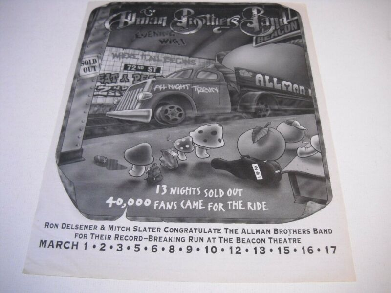 ALLMAN BROTHERS 40,000 Fans Came For The Ride original 1996 Promo Poster Ad