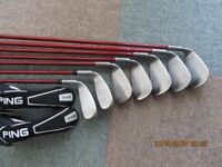 Ping K15 irons, includes 2 iron hybrids and free delivery