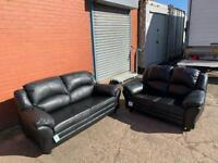 Black leather 3&2 delivery 🚚 sofa suite couch furniture