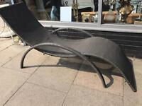 Brown Rattan Garden Sun Lounger
