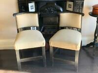Cream Antique bar chair reupholstered - Antiques - will sell separately
