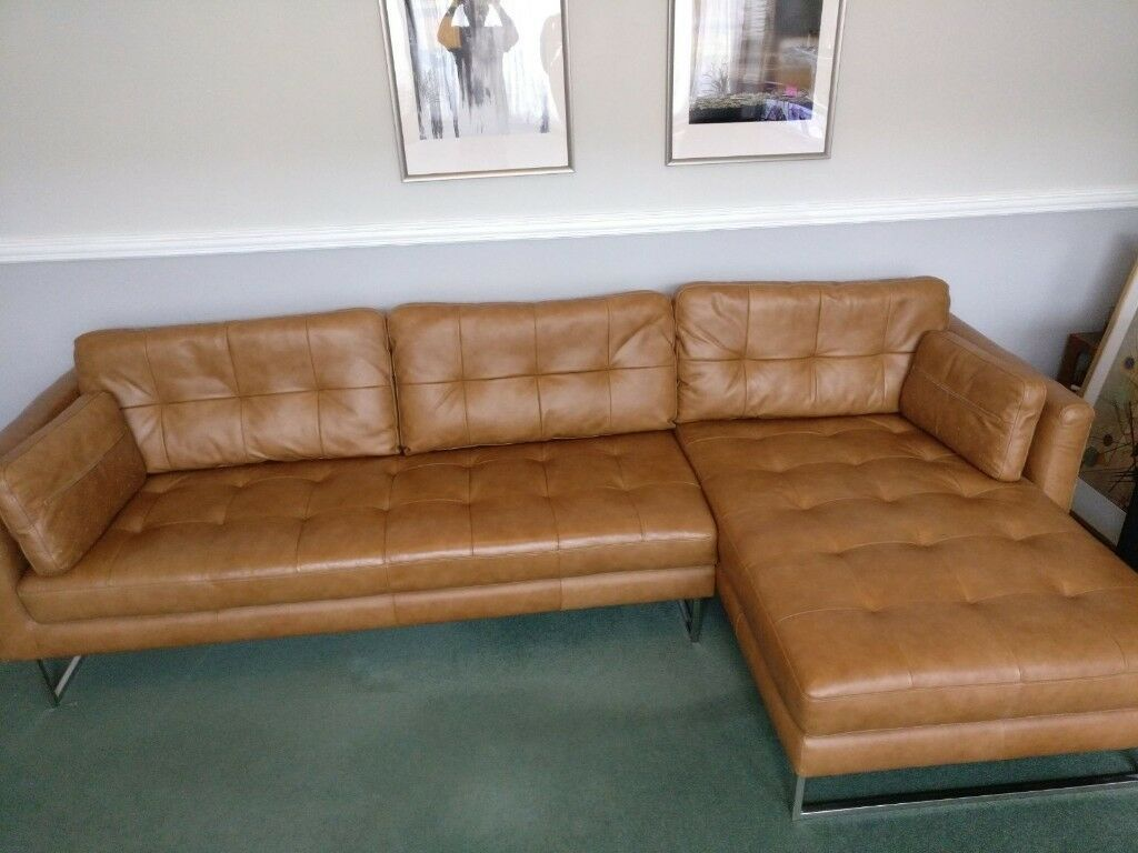 Dwell Paris Leather Right Hand Corner Sofa Natural Tan