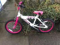 Childs pink and white 18 inch wheel bike